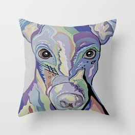 Greyhound in Denim Colors Throw Pillow