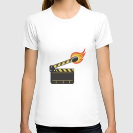 Clapper Board Match Stick On Fire Retro T-shirt
