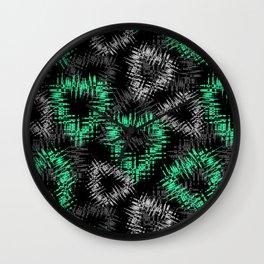 Broken heart . Black and green pattern . Wall Clock