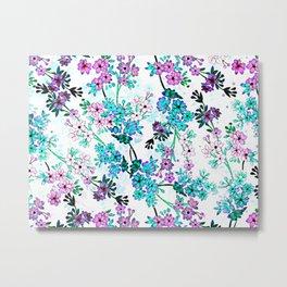 Turquoise Lavender Floral Metal Print