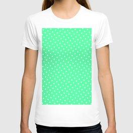 Pastel Goth Pastel Green Retro Polka Dot (White) T-shirt