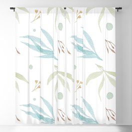 Simple Watercolor Leaves Blackout Curtain