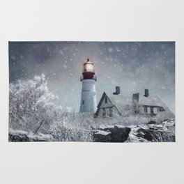 New England Winter Lighthouse Rug
