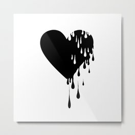Bleeding Black Heart Metal Print