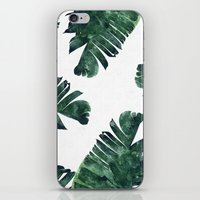 banana leaf iPhone & iPod Skins featuring Banana Leaf Watercolor Pattern #society6 by 83 Oranges™