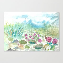Florida Everglades landscape Watercolor Canvas Print