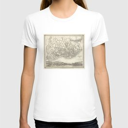 Vintage Map of Lisbon Portugal (1844) T-shirt
