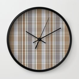 Winter, Plaid, Brown and Grey Wall Clock