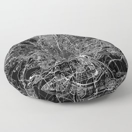 Madrid Black Map Floor Pillow