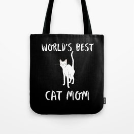 World's Best Cat Mom Cute Animal Typography Art Tote Bag
