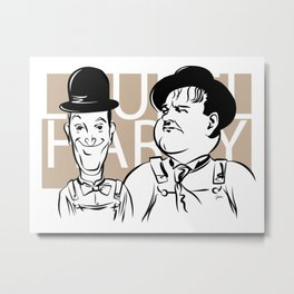 Face Laurel And Hardy Metal Print