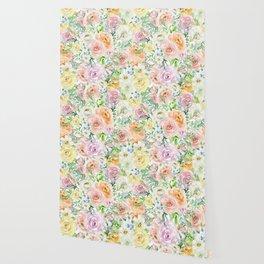 Pastel romantic garden Wallpaper