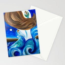 Mermaid Under Moon and Stars Stationery Cards