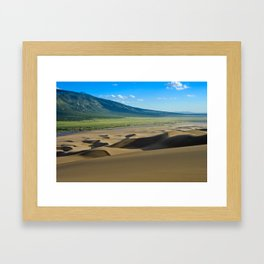 Great Sand Dunes against mountains Framed Art Print