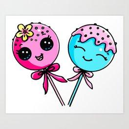 Couple Cake Pops Art Print