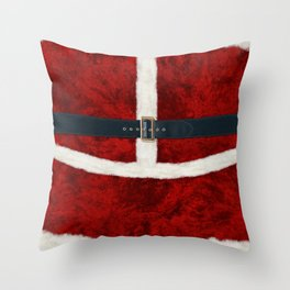 Funny Christmas Santa Costume Cosplay Outfit - Fluffy Red and White with Belt and Buckle Throw Pillow