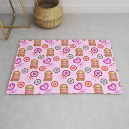 Funny happy little pink baby sloths, pink hearts. Vintage retro lollipops. Cute girly pink pattern Rug