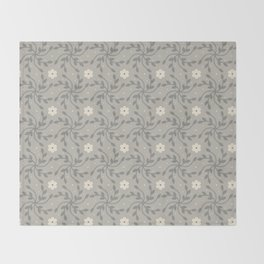 Gray Floral Vine Throw Blanket