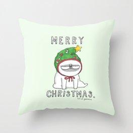 Grumpy Christmas puggy Throw Pillow