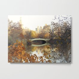 Bow Bridge Central Park in Fall Metal Print