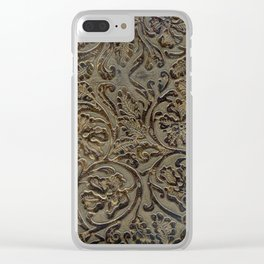 Olive & Brown Tooled Leather Clear iPhone Case