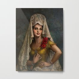 Spanish Beauty with Lace Mantilla and Comb by Jesus Helguera Metal Print
