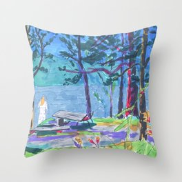 summer camp Throw Pillow