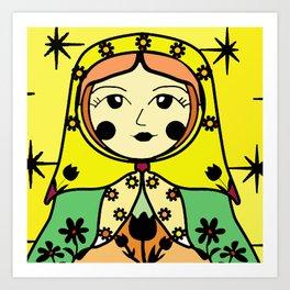 Matryoshka russian doll colorful illustration wall decor - Svetlana Art Print