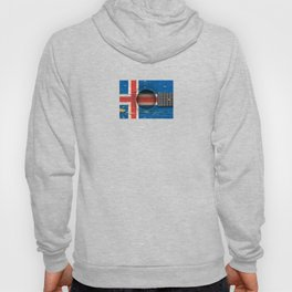 Old Vintage Acoustic Guitar with Icelandic Flag Hoody