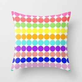 Stylized round multi-colored flowers (white background) Throw Pillow