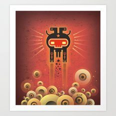 ELECTROCHAMAN Red face Art Print