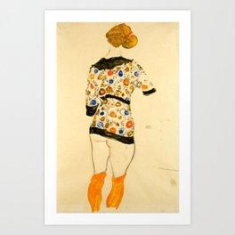 "Egon Schiele ""Standing Woman in a Patterned Blouse"" Art Print"