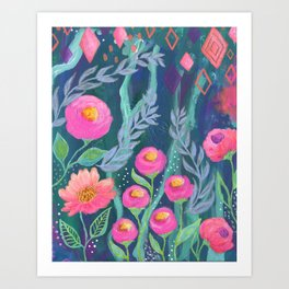 Boho Artwork, Floral Painting, Pink and Coral Flowers, Blue Turquoise Painting, Art Print