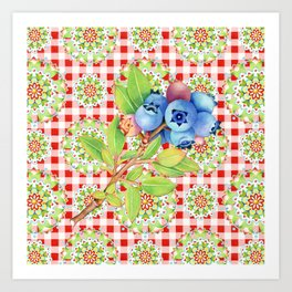 Wild Blueberry Red Gingham Art Print