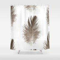 crane Shower Curtains featuring Crane Feather  by Geryes