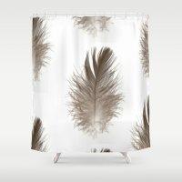 crane Shower Curtains featuring Crane Feather  by Joe Shmo