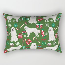 Great Pyrenees christmas festive dog gifts for the dog lover pet friendly pet portraits Rectangular Pillow