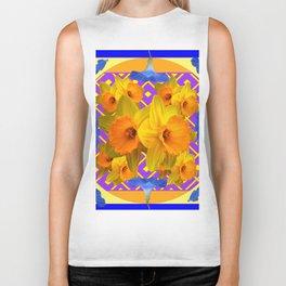 Golden Daffodils Blue Morning Glories Garden Pattern Biker Tank