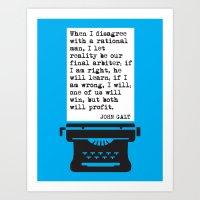 JOHN GALT / AYN RAND / ATLAS SHRUGGED  RATIONAL MAN QUOTE Art Print