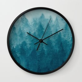 Misty Pine Forest Wall Clock