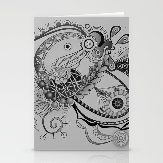 Ornate spring tangle, charcoal grey Stationery Cards
