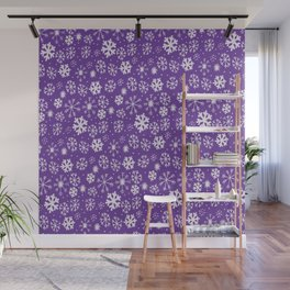 Snowflake Snowstorm With Purple Background Wall Mural