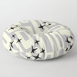 Retro Mid Century Modern Abstract Pattern 576 Gray Black Floor Pillow