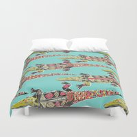 crocodile Duvet Covers featuring crocodile blue by Sharon Turner