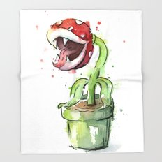 Piranha Plant Watercolor Geek Gaming Mario Art Throw Blanket