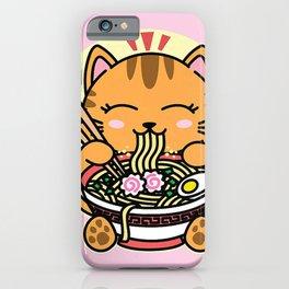 Kawaii Ramen Cute Anime Orange Cat Japanese Noodles iPhone Case