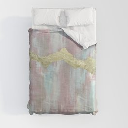 Boho Abstract Painting with Gold Leaf- Desert Southwestern Bohemian Glam Painting Comforters