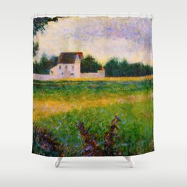 Landscape of the Ile de France Post-Impressionism landscape Oil Painting Countryside Cottages Farm Shower Curtain