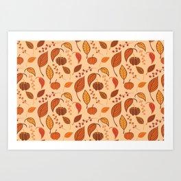 Leaves and pumpkins Art Print