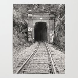 Bellingham Railroad Tunnel, Washington Trains, Northwest Landscape, Sepia Print Poster